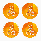 Ampersand sign icon. Logical operator AND. Ampersand sign icon. Programming logical operator AND. Wedding invitation symbol. Triangular low poly buttons with Royalty Free Stock Photo