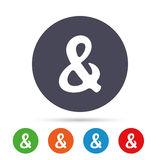 Ampersand sign icon. Logical operator AND. Ampersand rounded sign icon. Programming logical operator AND. Wedding invitation symbol. Round colourful buttons Royalty Free Stock Photos