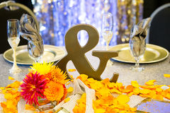 Ampersand Sign at Wedding Reception Royalty Free Stock Photos