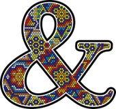 Ampersand symbl met de kleurrijke Mexicaanse stijl van de huicholkunst stock illustratie