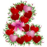 Ampersand - Valentine letter. Ampersand - with heart, bow, ribbon and leaf - Alphabet stock illustration