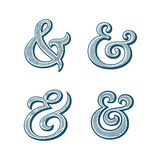 Ampersand vector illustration. Ampersand collection. Decoration ampersands with natural wood texture. Linocut print stylized vector illustration. Elegant and Stock Images