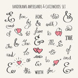 Ampersands and Catchwords Set. Set of hand drawn ampersands and catchwords. Vector illustration Stock Photo