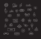 Ampersands e lemas tirados mão do vetor Fotografia de Stock