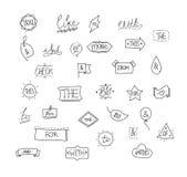 Ampersands e lemas tirados mão do vetor Ilustração Stock