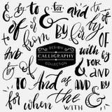 Ampersands en wachtwoorden Het met de hand geschreven kalligrafie en van letters voorzien Royalty-vrije Stock Afbeeldingen