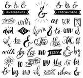 Ampersands en wachtwoorden Het met de hand geschreven kalligrafie van letters voorzien Royalty-vrije Stock Fotografie
