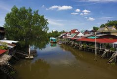 Amphawa区的泰国村庄在泰国的乡下 免版税库存图片