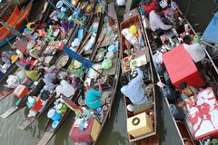 Amphawa浮动市场 免版税图库摄影