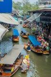Amphawa bangkok floating market Thailand. Bangkok, Thailand - December 30, 2013: sailing boats at Amphawa Bangkok floating market at Bangkok, Thailand on Royalty Free Stock Photos