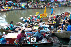 Amphawa evening floating market in Middle of Thailand. Stock Photography