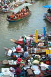 Amphawa evening floating market in Middle of Thailand. Royalty Free Stock Photos
