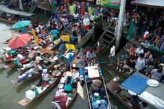 Amphawa evening floating market in Middle of Thailand. Stock Photo