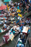 Amphawa evening floating market in Middle of Thailand. Royalty Free Stock Photo