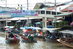 Amphawa evening floating market in Middle of Thailand. Royalty Free Stock Images