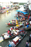 Amphawa evening floating market in Middle of Thailand. Stock Photos