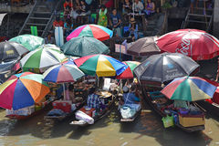 Amphawa Floating Market in the afternoon Royalty Free Stock Photography