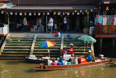 Amphawa floating market early Stock Photos