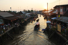 Amphawa floating market early in the morning Stock Images