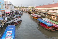 Amphawa floating market in the evening Royalty Free Stock Photo