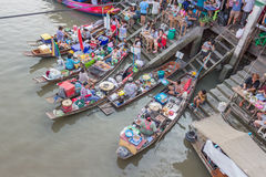 Amphawa floating market in the evening Stock Photo