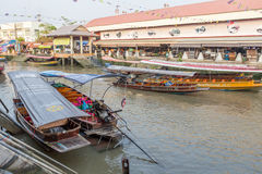Amphawa floating market in the evening Royalty Free Stock Images