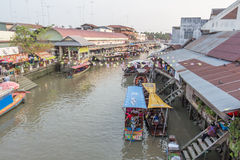 Amphawa floating market in the evening Royalty Free Stock Photography