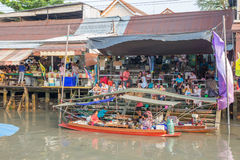 Amphawa floating market in the evening Stock Photography