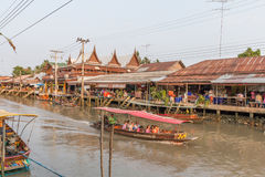 Amphawa floating market in the evening Stock Photos