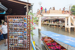Amphawa floating market in the evening. AMPHAWA, THAILAND -13 MAR 2016 : Amphawa floating market in the evening, It is famous floating market and tourist royalty free stock photography