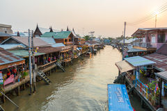 Amphawa floating market in the evening. AMPHAWA, THAILAND -13 MAR 2016 : Amphawa floating market in the evening, It is famous floating market and tourist royalty free stock images