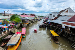The Amphawa floating market. Royalty Free Stock Image