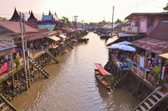 Amphawa Floating Market. On Amphawa Floating maket many of the huse lining the canal are doubling as shops restaurants at Samut Songkram Thailand on may 5, 2012 stock photos