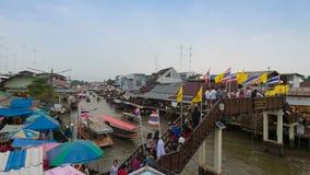 Amphawa Floating Market, Samut Songkhram,Thailand stock footage