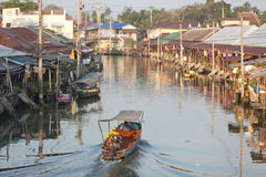 Amphawa floating market in thailand Stock Photo