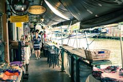 Amphawa floating market in Thailand stock photos