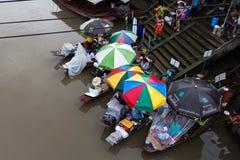 Amphawa Floating market, Thailand. Boats selling food at Amphawa Floating market, Thailand Royalty Free Stock Images