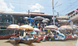 Amphawa Floating Market. Thailand - July 10: Many peopla are travel at  on Holiday. on July 10,2010 at  in Samut Songkhram, Thailand Royalty Free Stock Photos