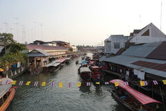 Amphawa. Floating market in Thailand is a tourist attraction Royalty Free Stock Photo