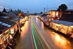Amphawa market canal, the most famous of floating market and cultural tourist destination Stock Image