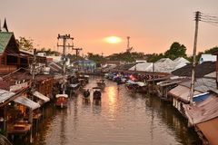 Amphawa market canal, the most famous of floating market and cultural tourist destination Royalty Free Stock Photo