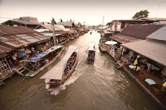 Amphawa market canal, the most famous of floating market Royalty Free Stock Images