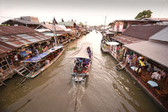 Amphawa market canal, the most famous of floating market Stock Photography