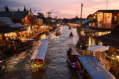 Amphawa market canal, the most famous of floating market Royalty Free Stock Photo