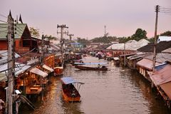 Amphawa market canal, the most famous of floating market and cultural tourist destination Stock Images
