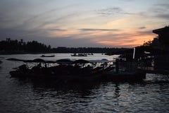 Amphawa`s floating market by night. royalty free stock photo