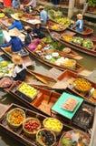 Amphawa Spławowy rynek, Tajlandia Zdjęcia Royalty Free