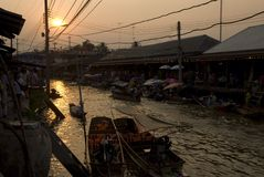 Amphawa sunset Royalty Free Stock Photos