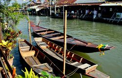 Amphawa, Thailand: Docked Wooden Boats Stock Images