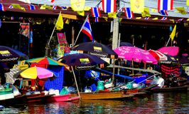 Amphawa, Thailand: Vendors at Floating Market Royalty Free Stock Photos